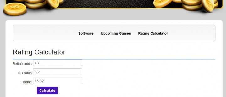 Betfair Renegade — Screenshot — Rating Calculator