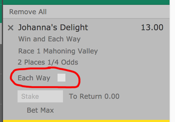 each way bet example