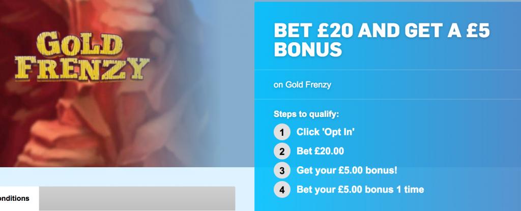 Betfair Arcade bet £20 get £5 free