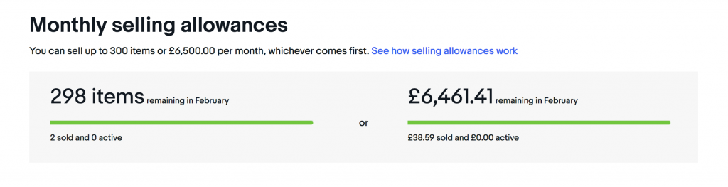 eBay selling limits
