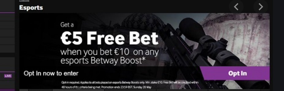 Betway esports free bet